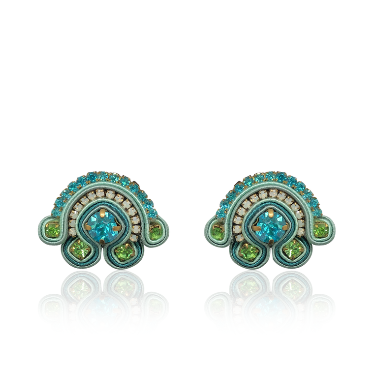 Tulipano Blue and Green Earring