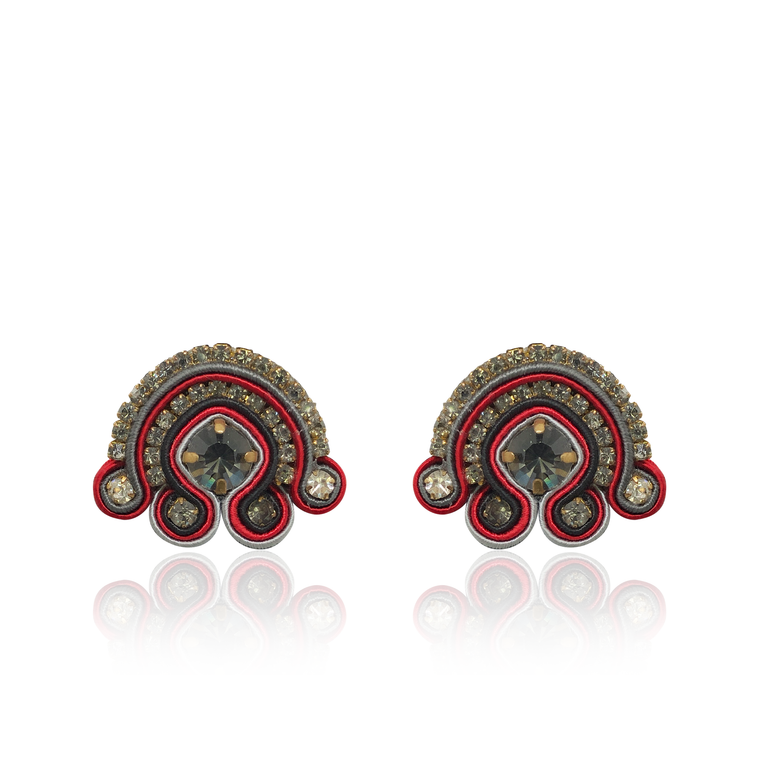 Tulipano Grey and Red Earring