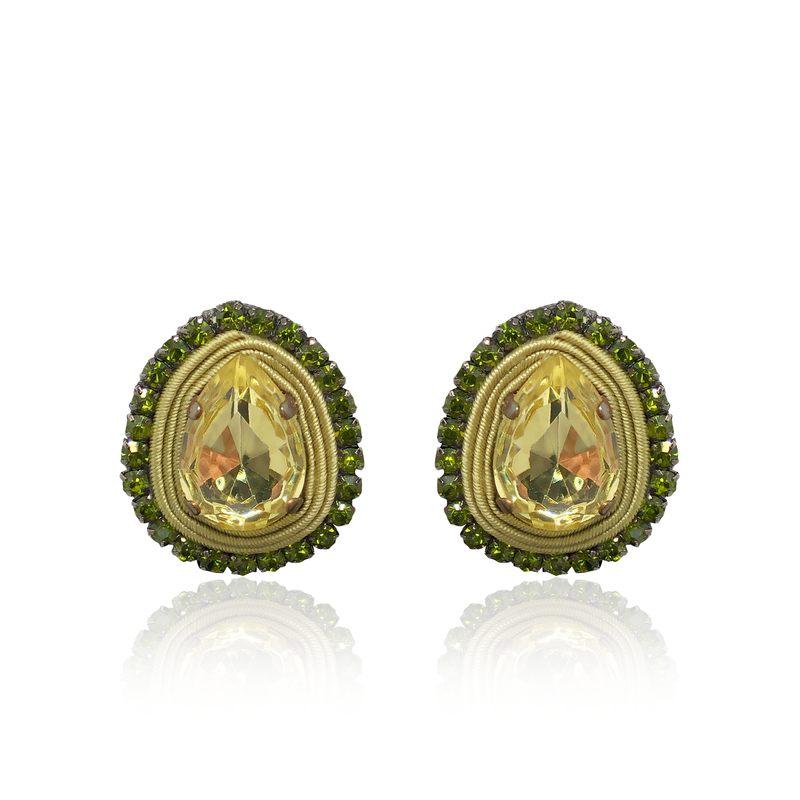 Basic Stone Yellow and Green Earrings