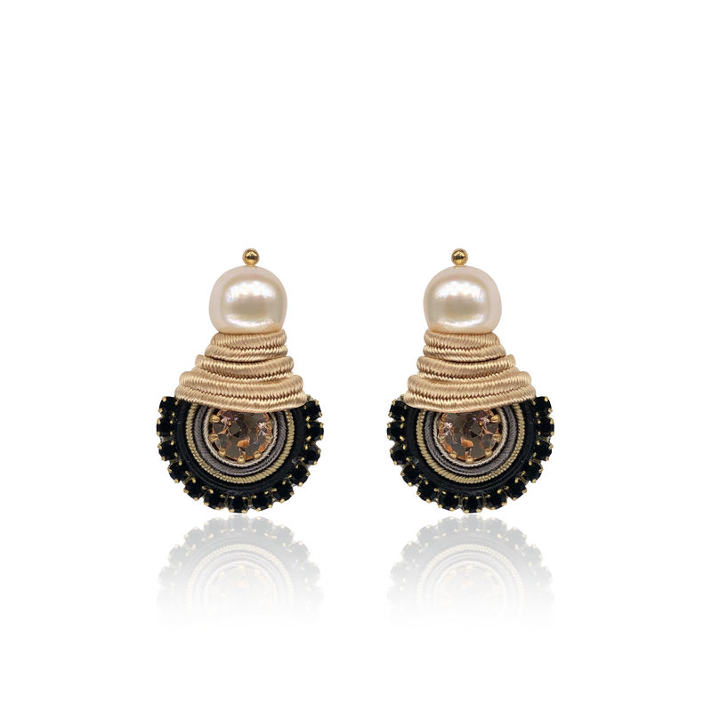 Beige and Black Mini Dopo Earrings