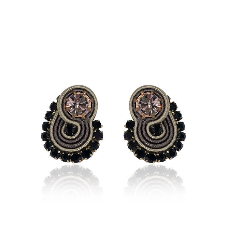 Black and Beige Mini Acqua Earrings