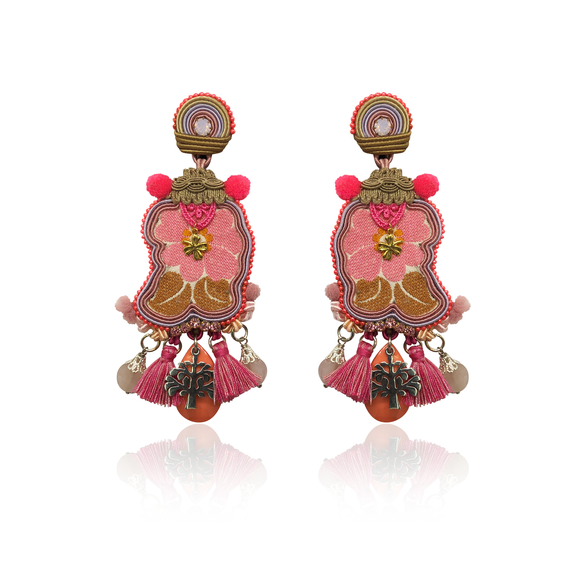 """Pink Panter and the Tree of Live"" One and Only Earrings"