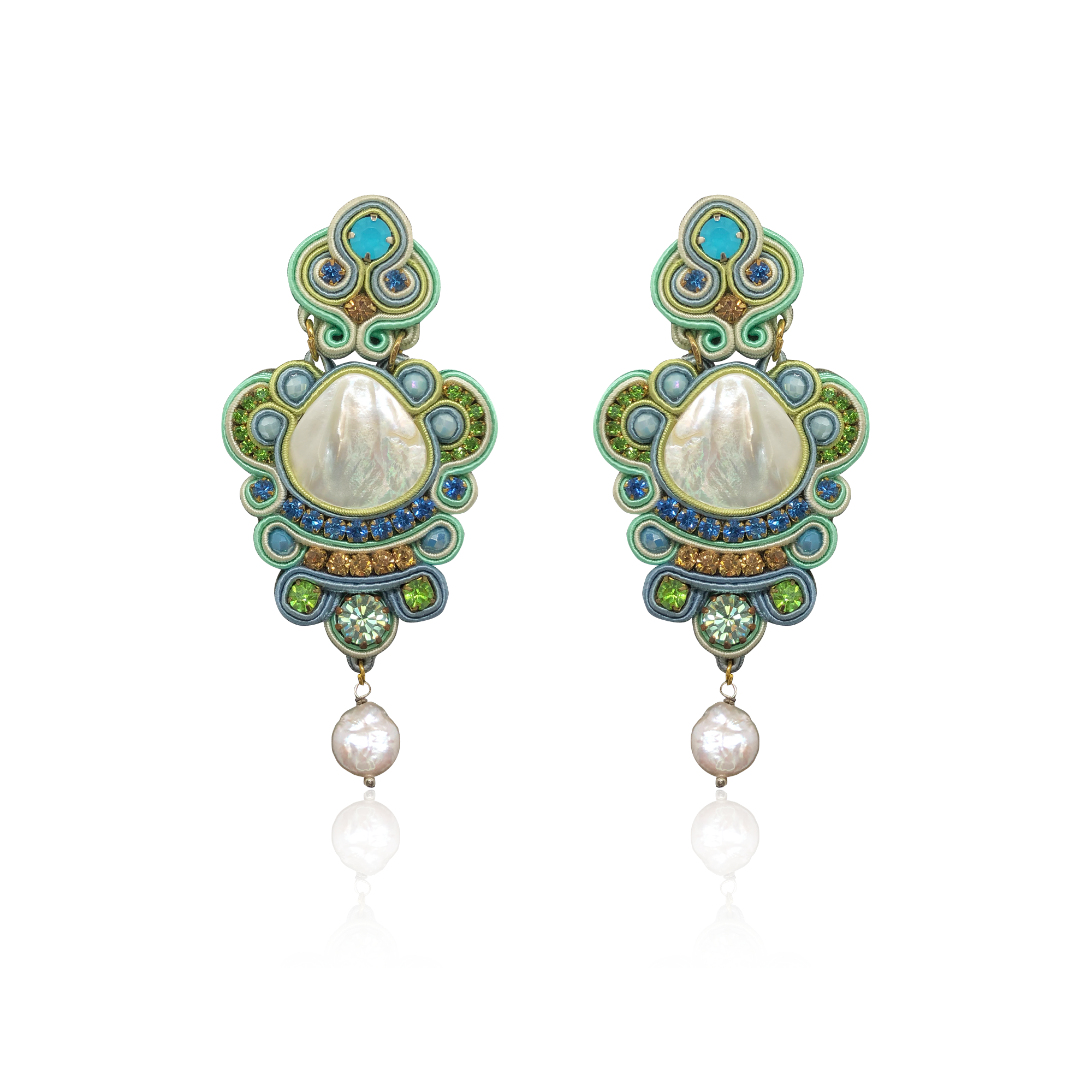 Marea Green and Blue Mother of Pearl Earrings