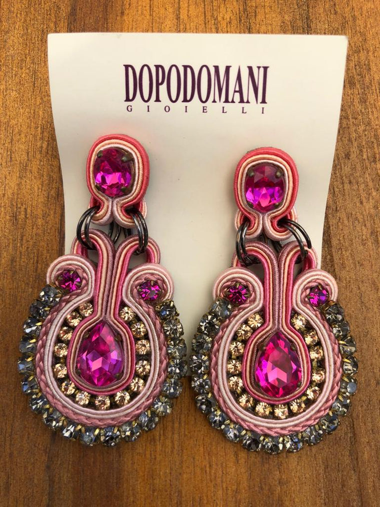 Pink and Grey Earrings