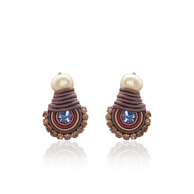 Burgondy and Blue Mini Dopo Earrings