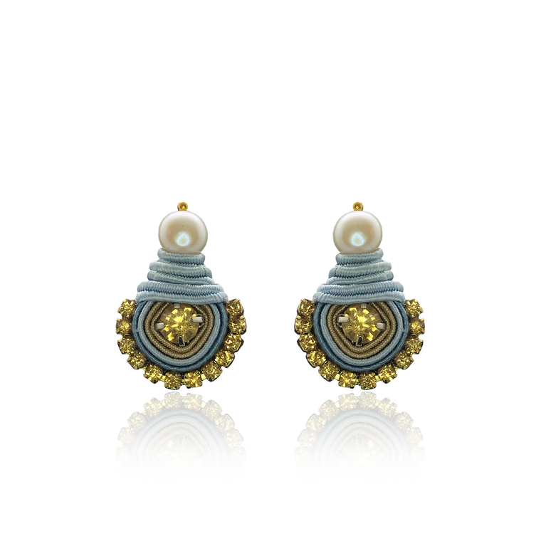 Baby Blue and Mostard Mini Dopo Earrings
