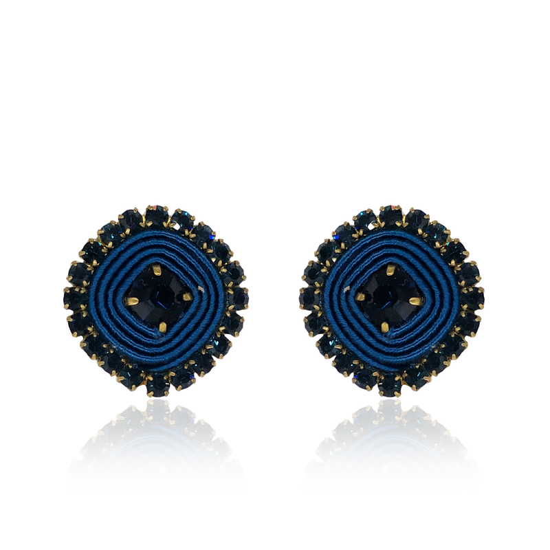 Dark Blue Basic Earrings