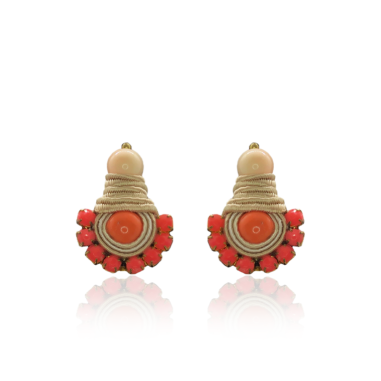 Neon Orange Swarovski Mini Dopo Earrings