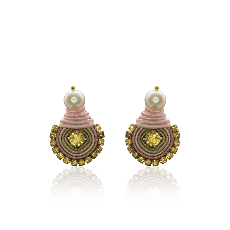Baby Pink and Mustard Mini Dopo Earrings