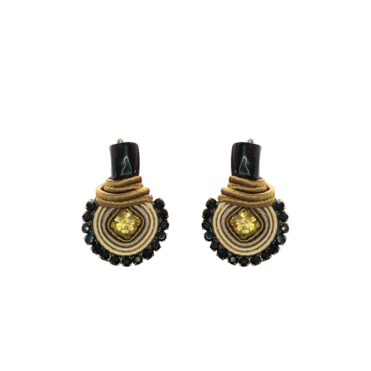 Black and Beige Mini Dopo Earrings