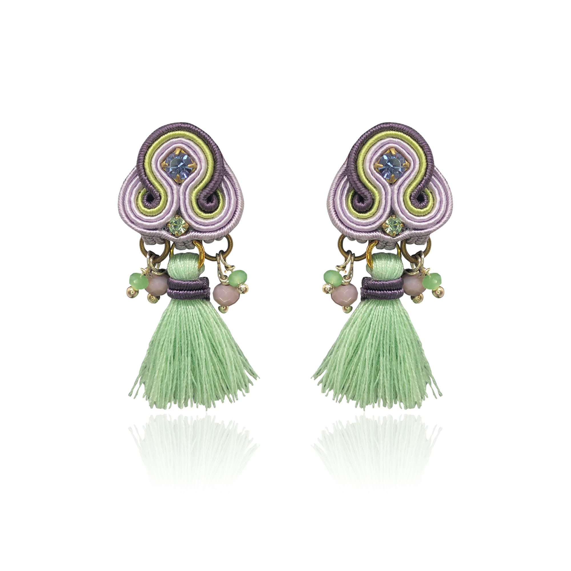Lila and Light Green Mini Borla Earrings
