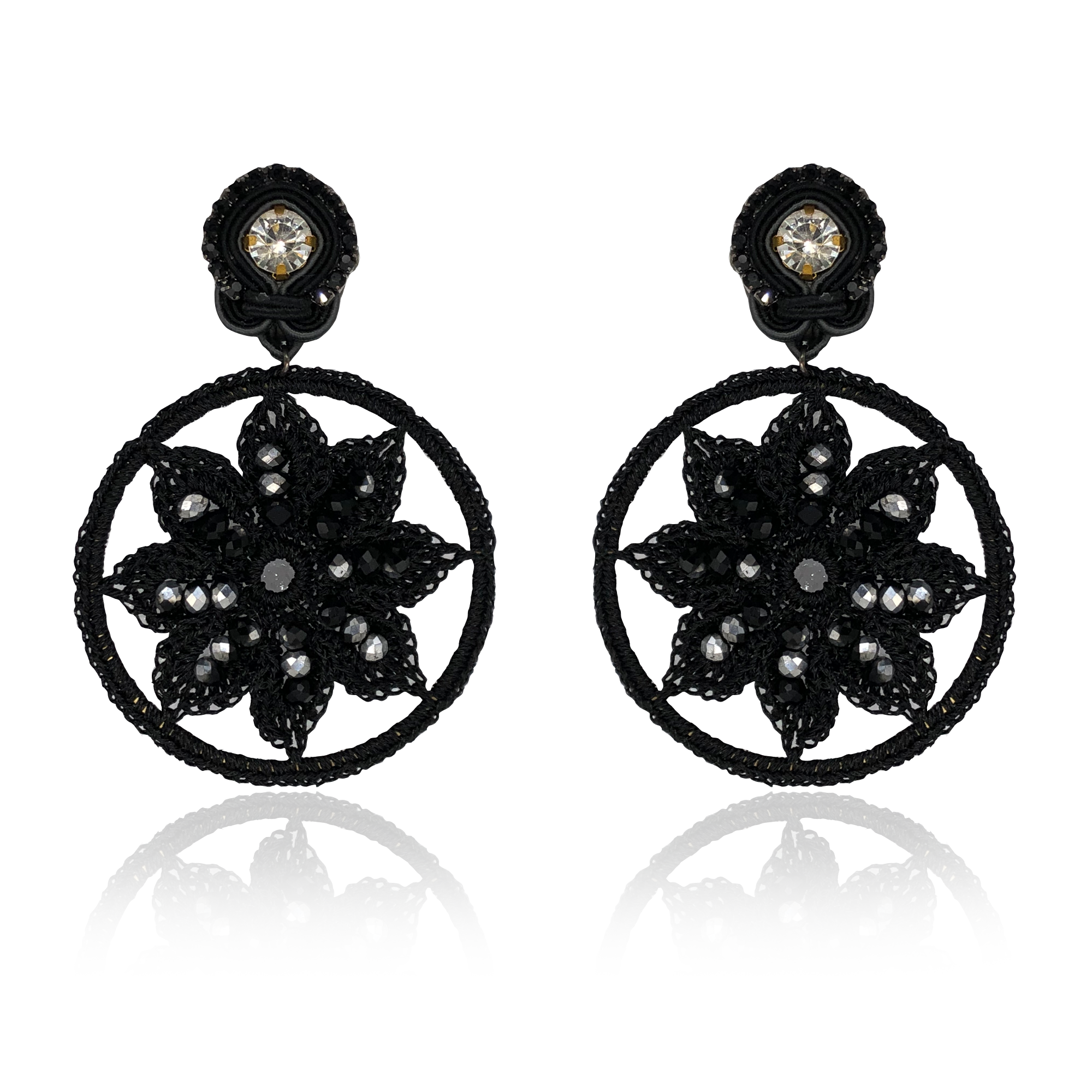Mandala Black Star Earrings