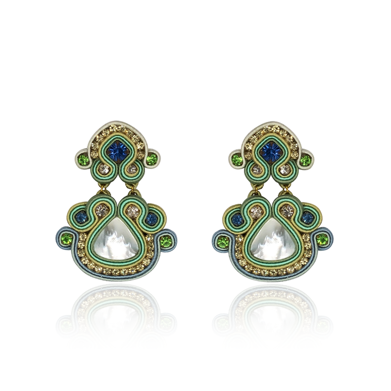 Green Mother of Pearl Nuvola Earrings