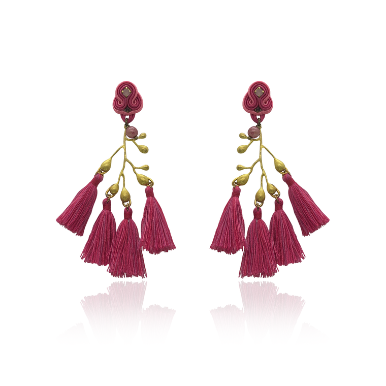 Gold Branch and dark Pink Tussels Earrings
