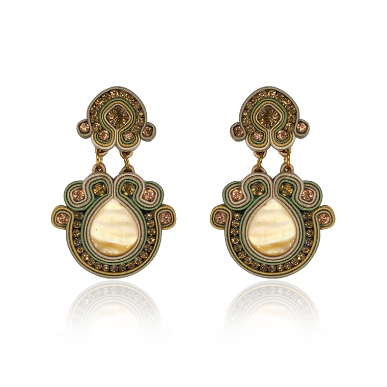Beige Nuvola Mother Of Pearl Earrings