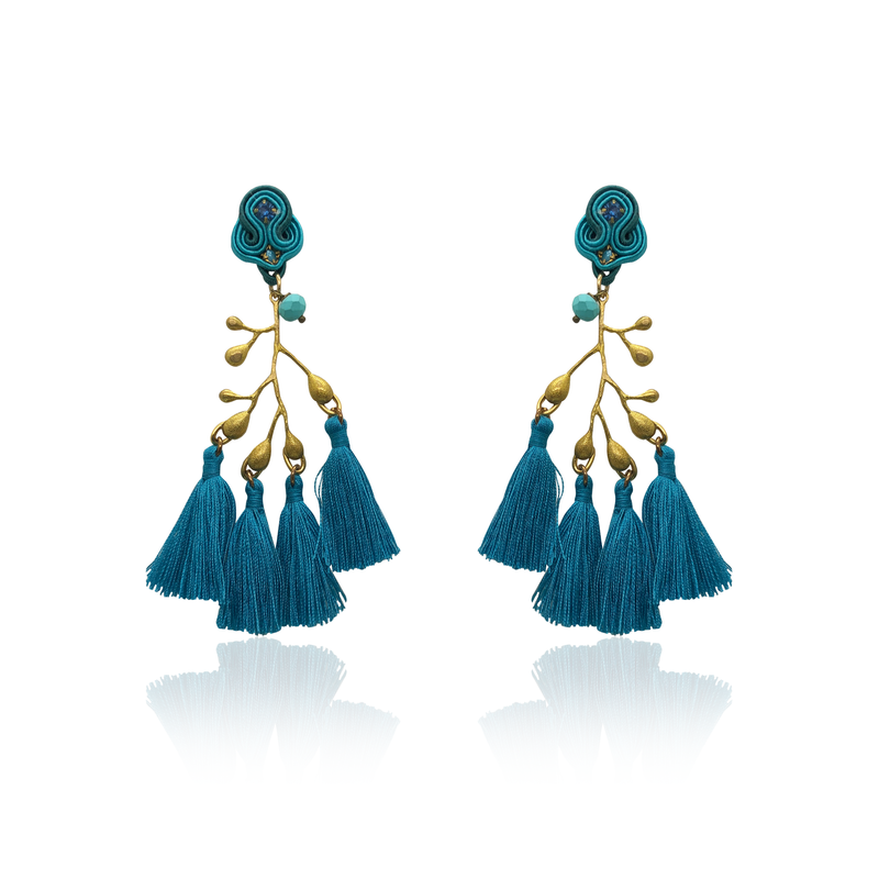 Gold Branch and Blue Tussel Earrings