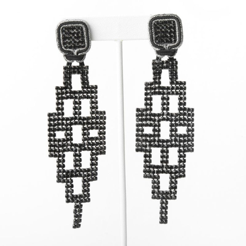 Black Net Shiny Earrings