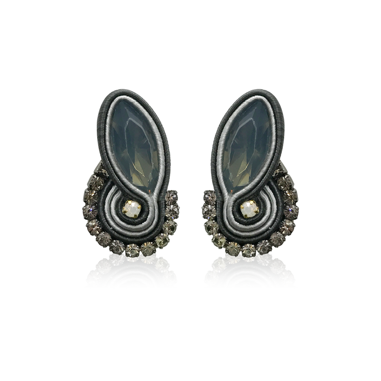 Dopodomani Long Dark Grey Mini Mamma Earrings
