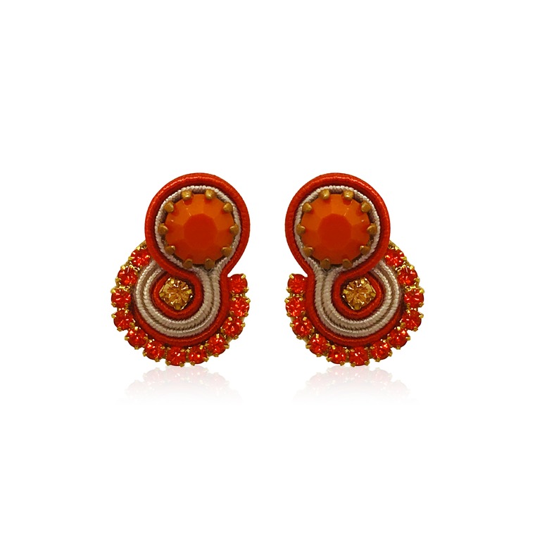 Dopodomani Orange Round Mini Mamma Earrings