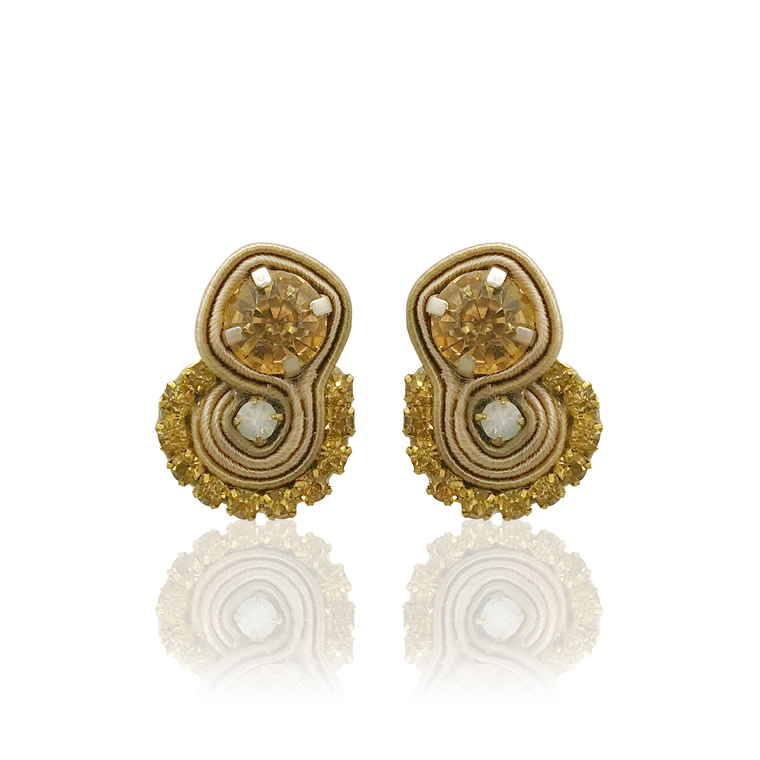 Dopodomani Beige Round Mini Mamma Earrings