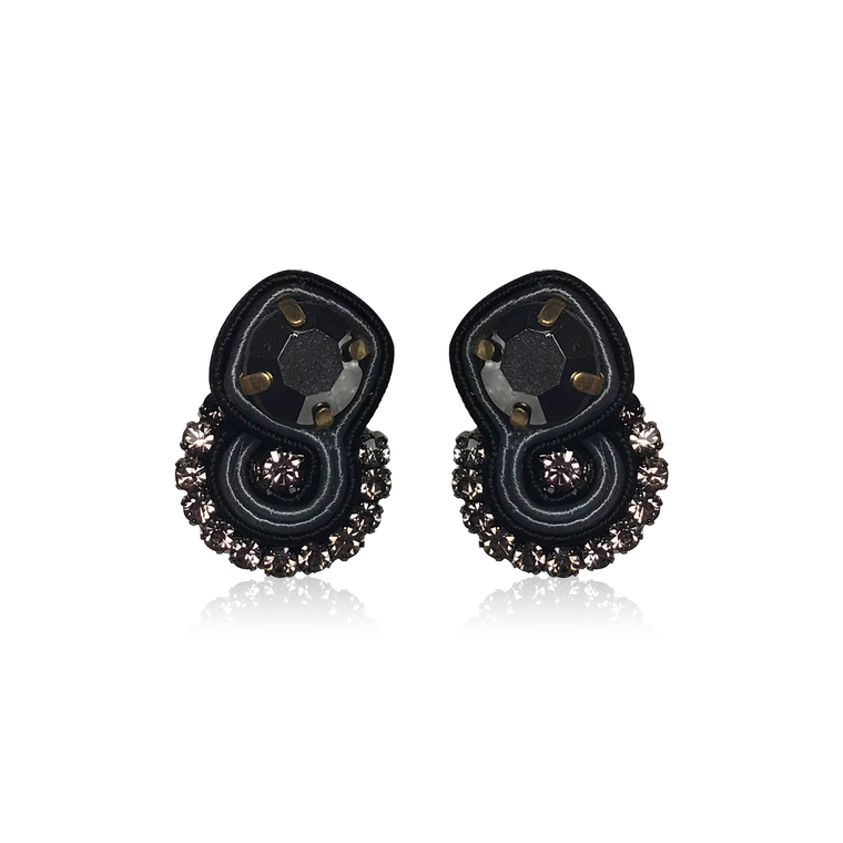Dopodomani Black Round Mini Mamma Earrings
