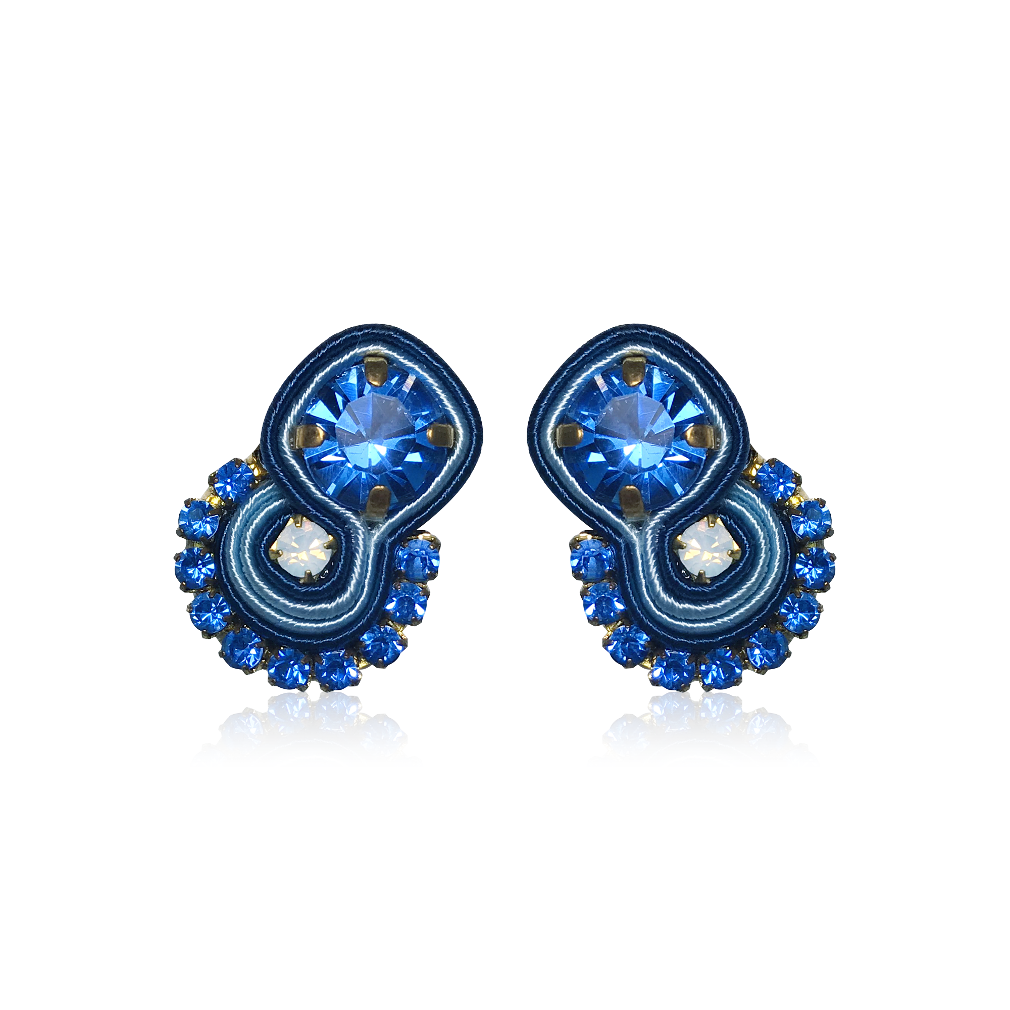 Mini Mamma Blue Round Earrings