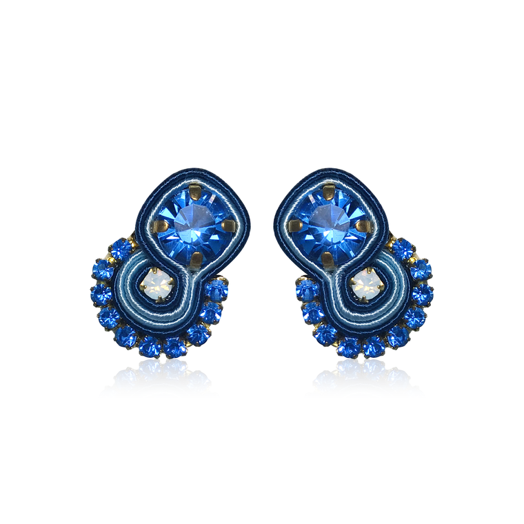 Dopodomani Blue Round Mini Mamma Earrings