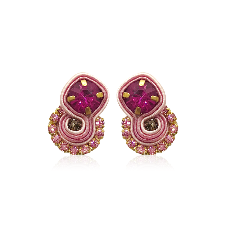 Dopodomani Pink Round Mini Mamma Earrings