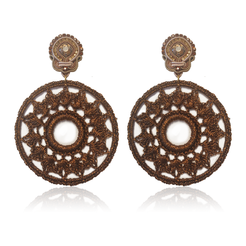Dopodomani Brown Mandala Earrings