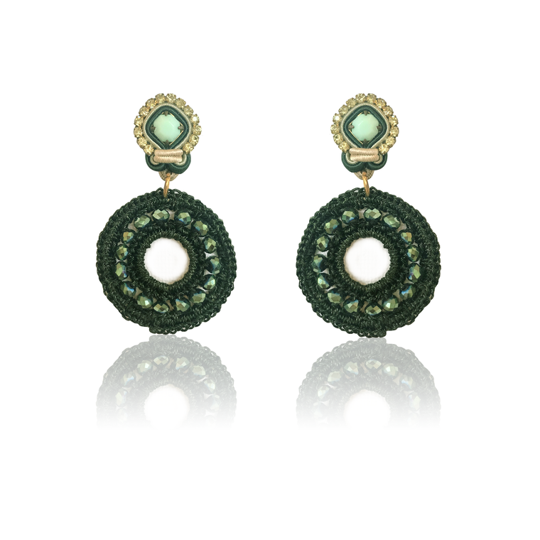 Dopodomani Green Mini Mandala Earrings
