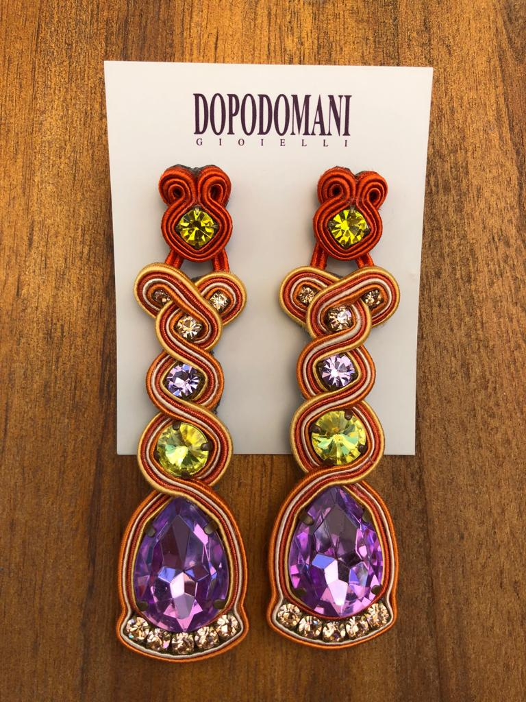 Orange, Yellow and Purple Earrings