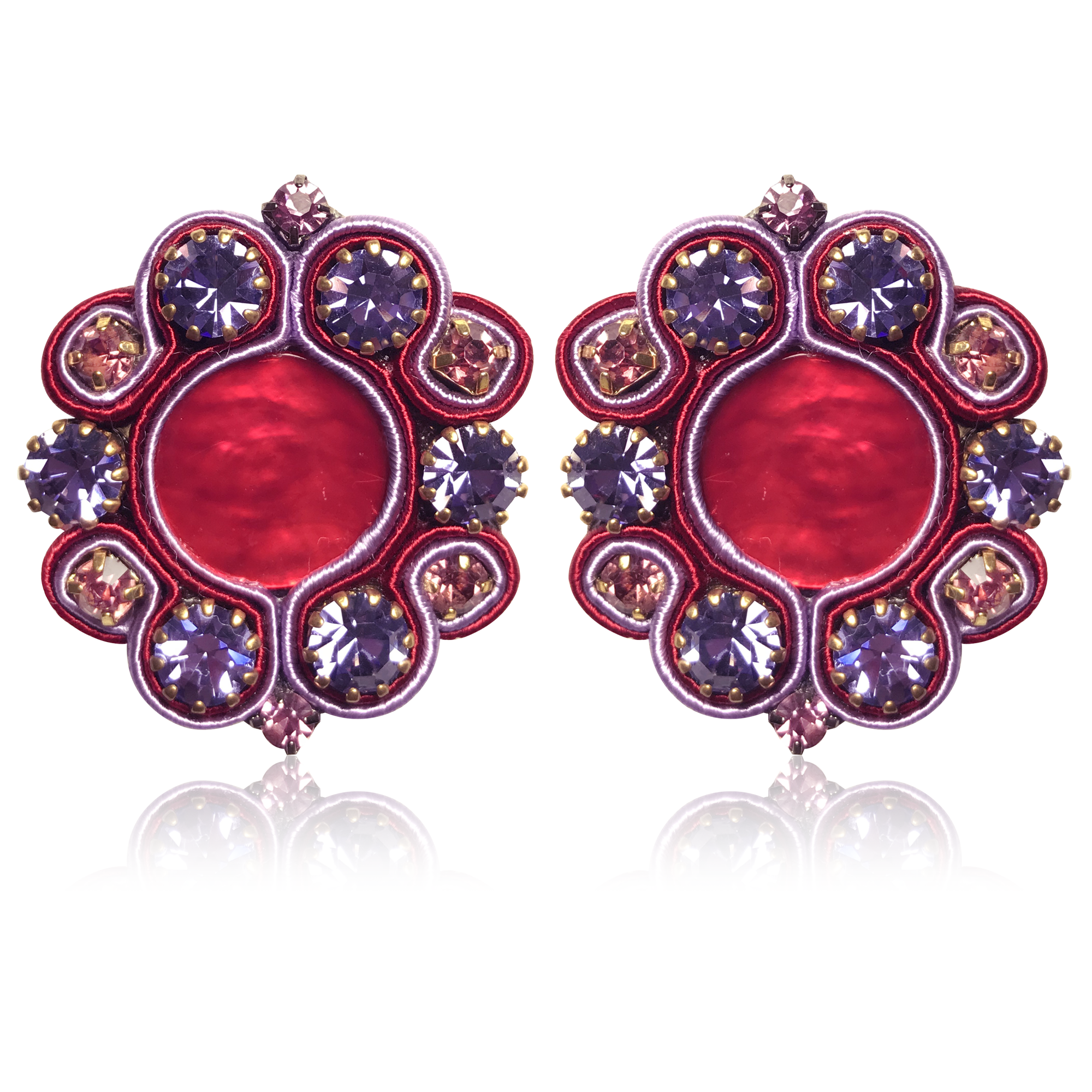Dopodomani Red & Violet  Jupiter Earrings