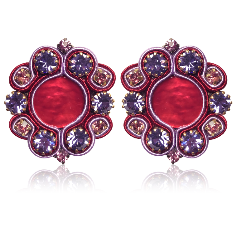 Jupiter Red & Violet Earrings