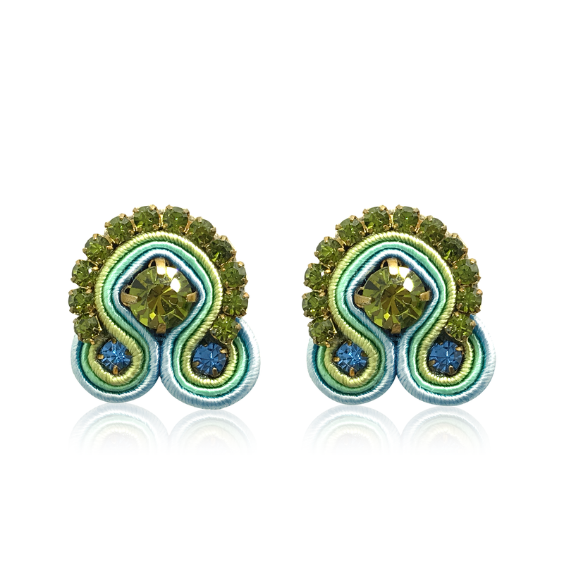 Dopodomani Menta Swarovski Mini Acqua Earrings