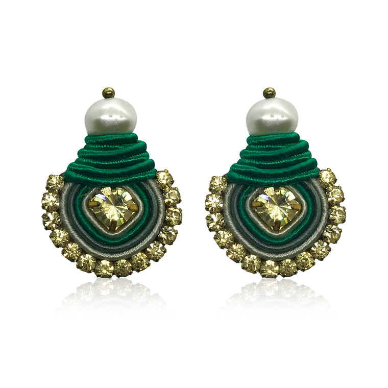 Mini Dopo Green Swarovski Earrings