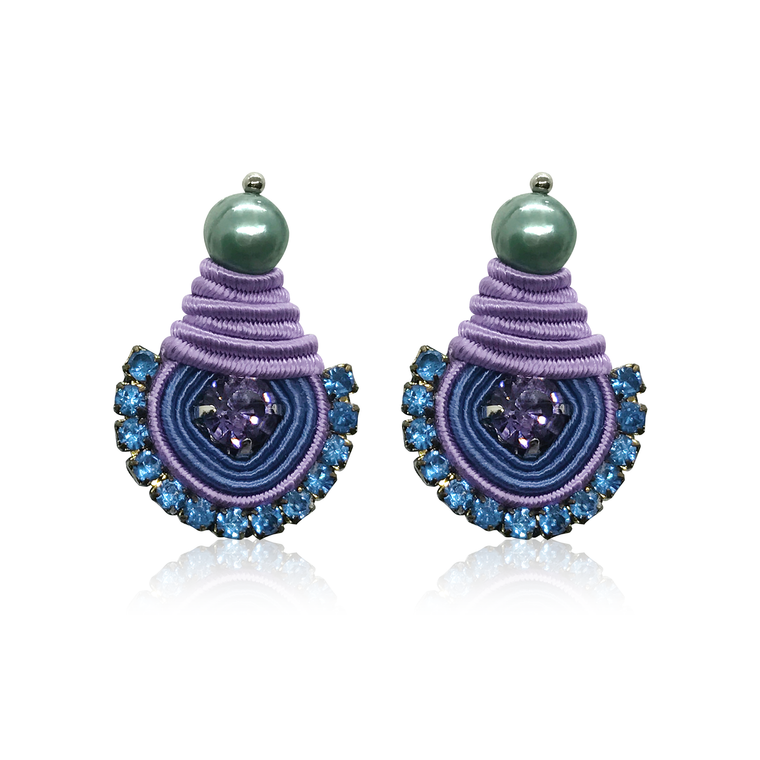 Mini Dopo Blue & Lila Swarovski Earrings