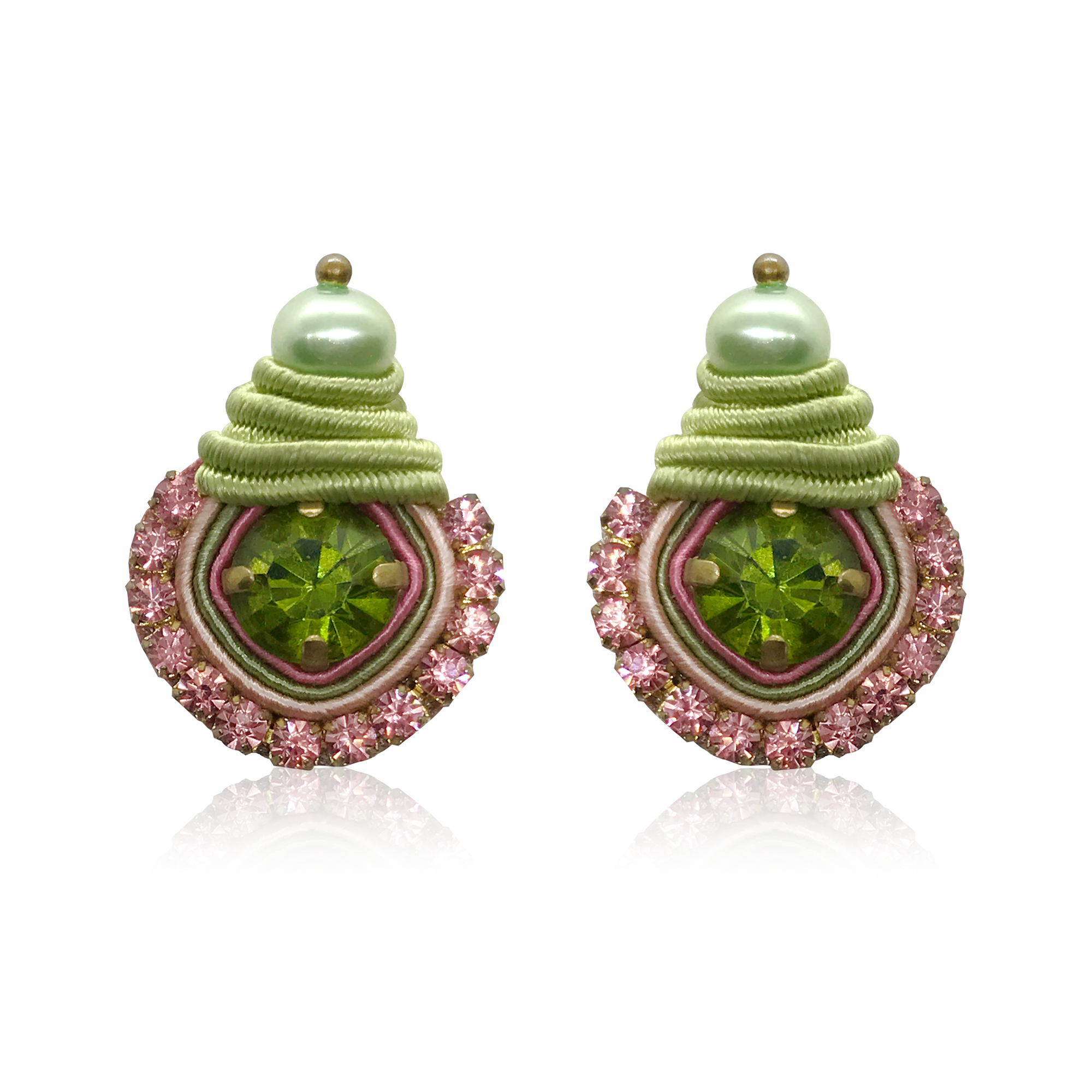 Mini Dopo Green & Pink Swarovski Earrings