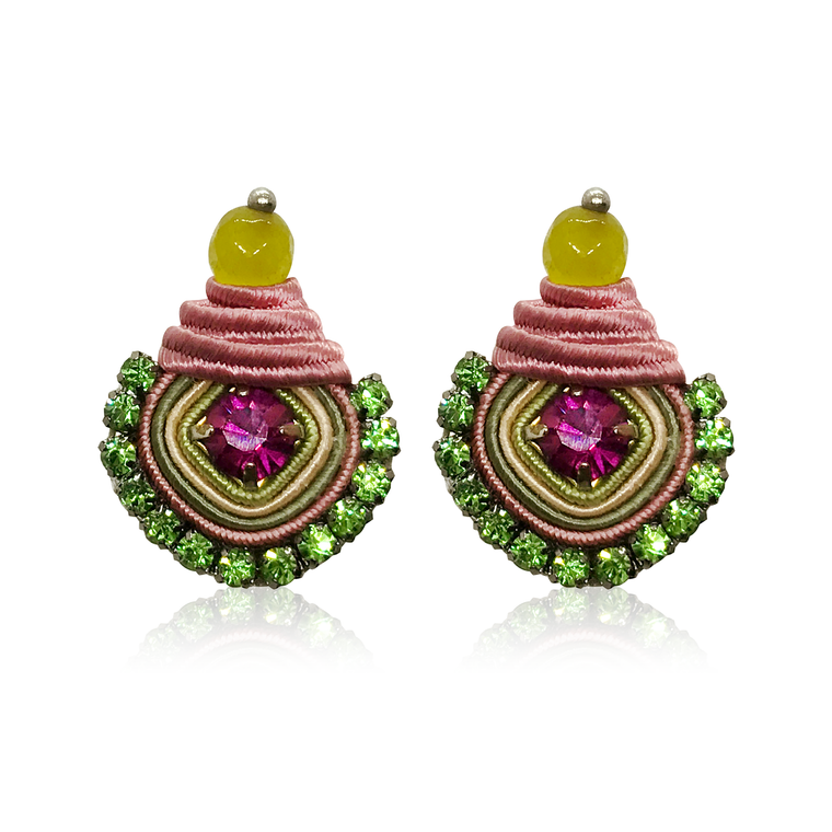 Mini Dopo Magenta & Green Swarovski Earrings