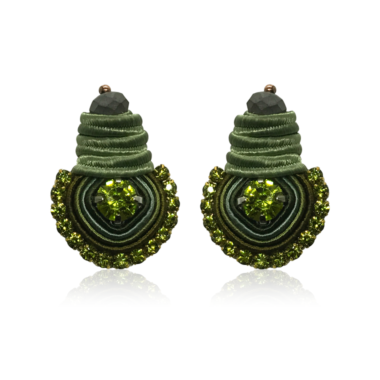 Mini Dopo Green Olive Swarovski Earrings