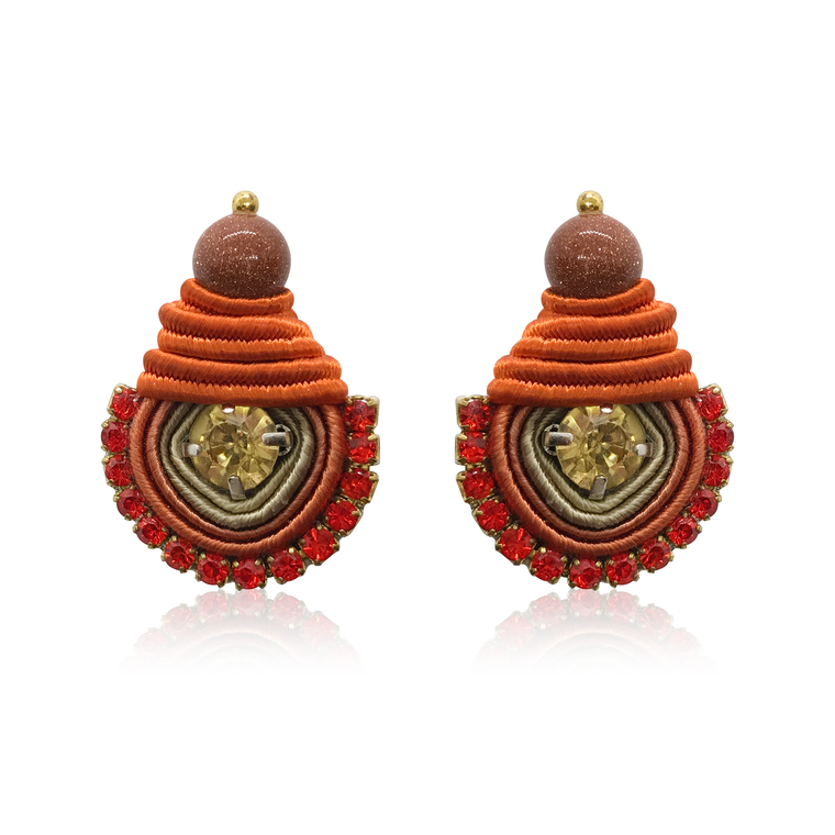 Mini Dopo Orange with Yellow Swarovski Earrings
