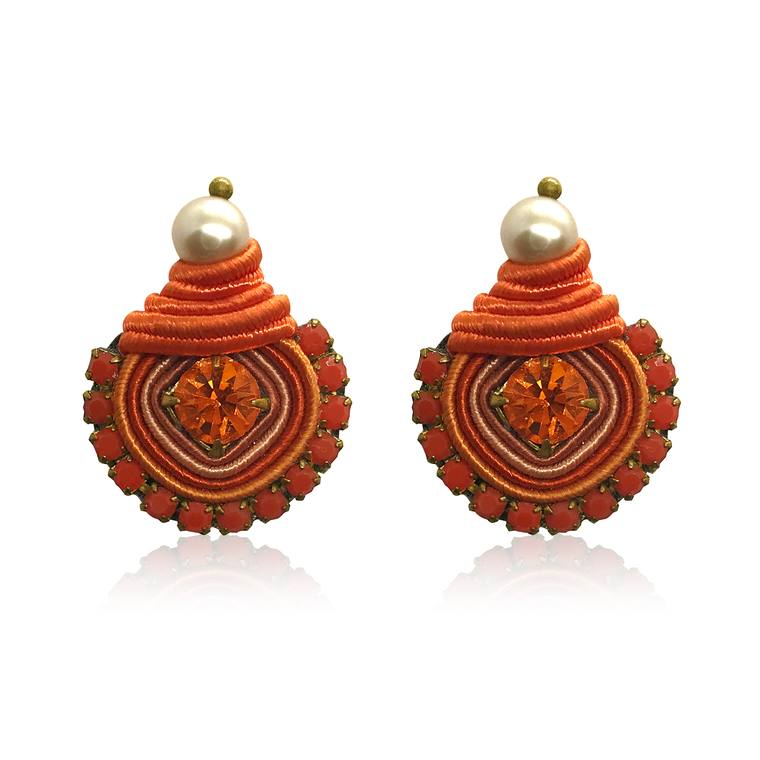Mini Dopo Orange Swarovski Earrings