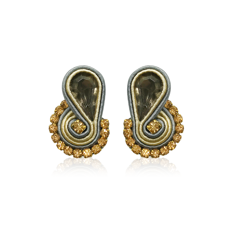 Dopodomani Gold and Grey Mini Mamma Earrings