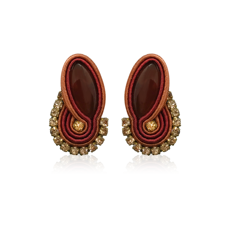 Dopodomani Long Dark Red Mini Mamma Earrings