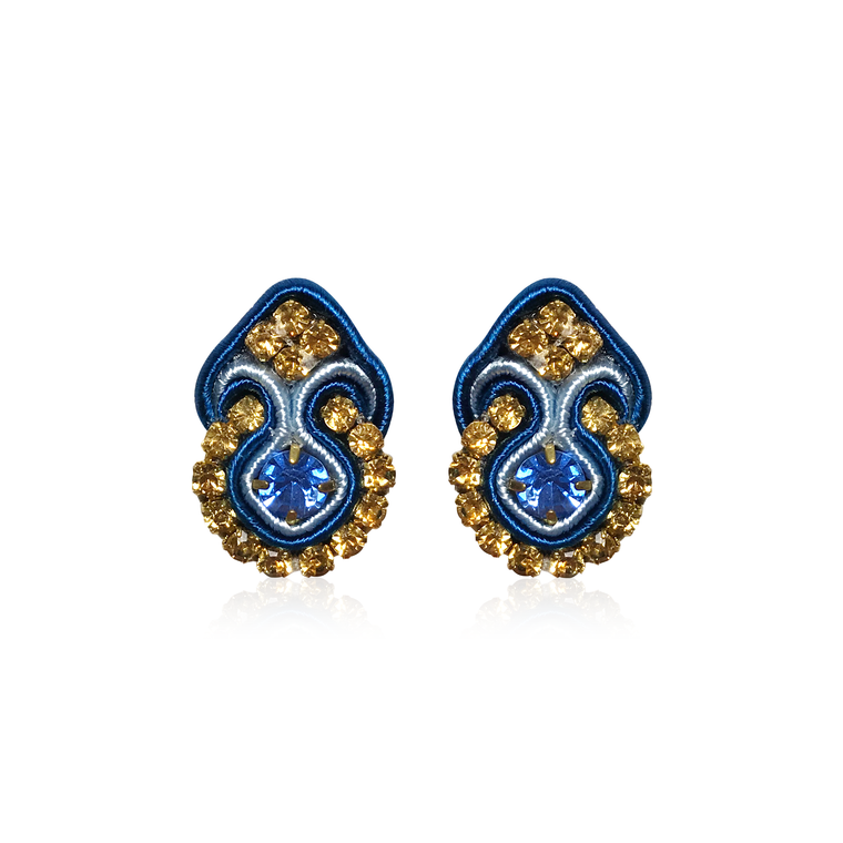 Dopodomani Navy Blue Mini Fiore Earrings