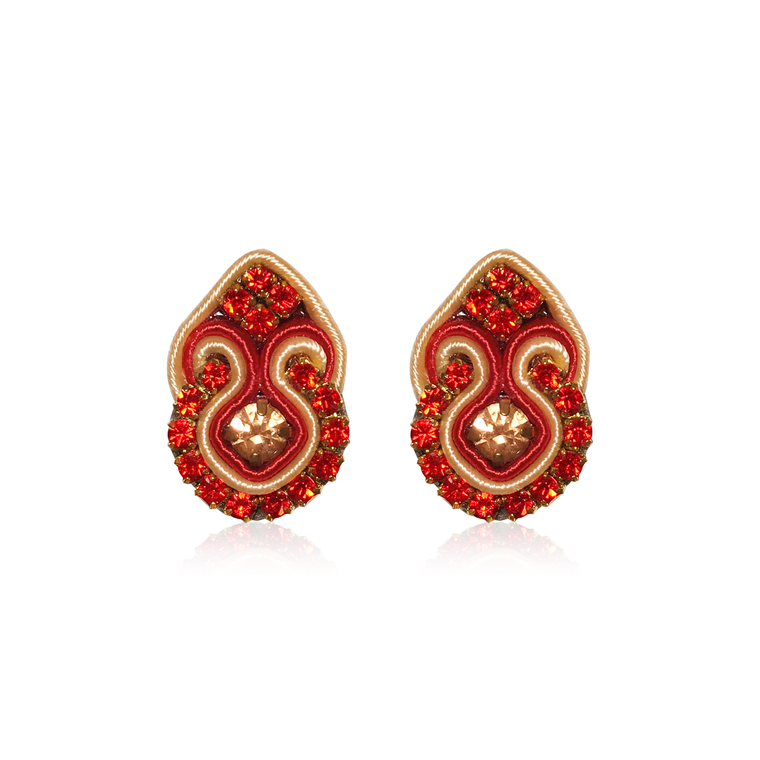 Mini Fiore Red Earrings