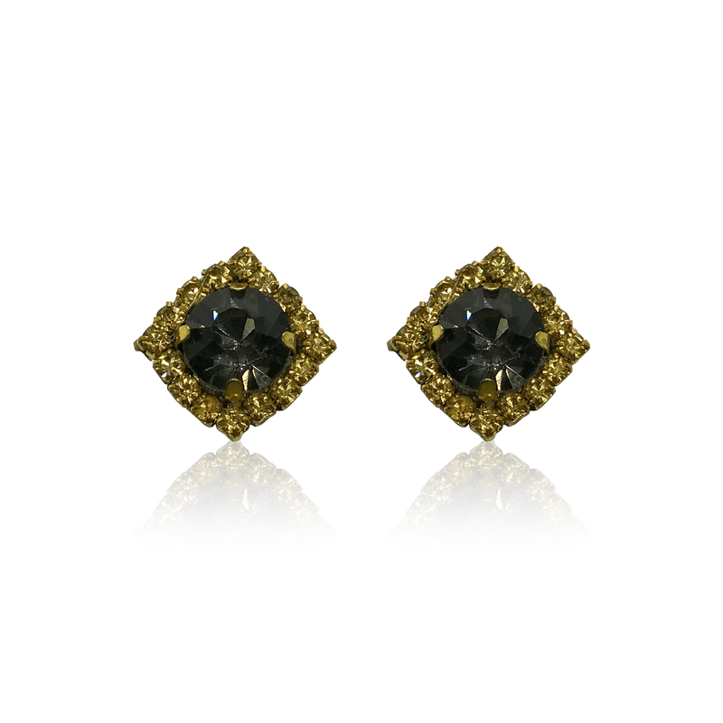 Dopodomani Stones Black and Gold Earrings