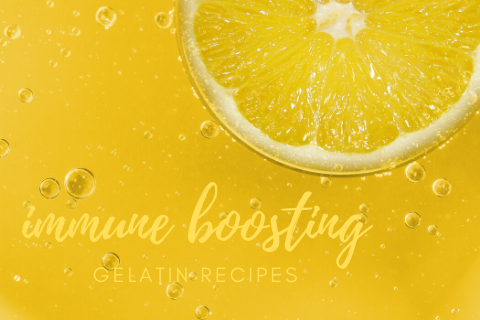 A slice of lemon in yellow gelatin with the words immune boosting gelatin recipes