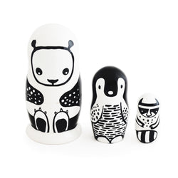 Set of 3 Nesting Dolls – Black and White Animals - SOOJIN baby shop (683098603581)