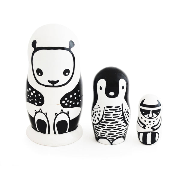 Set of 3 Nesting Dolls – Black and White Animals - SOOJIN baby shop