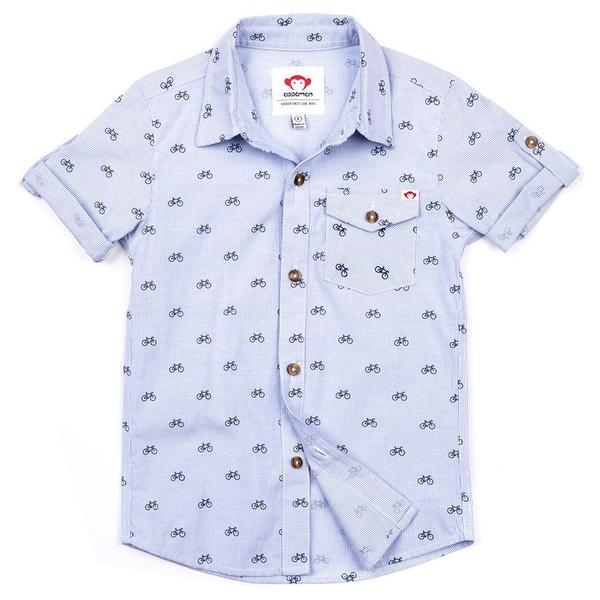 Blue Bike Plaid Collared Shirt (3880556036157)